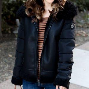Bernardo faux shearling leather bomber zip jacket